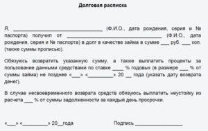 Расписка о возврате суммы займа