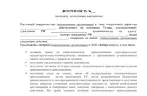 Доверенность в мфц на получение документов от юр лица
