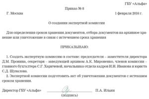 Примерный приказ о создании экспертной комиссии