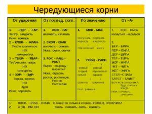 Все корни с чередованием таблица 5 6 класс