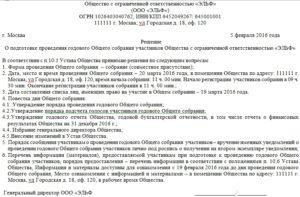 Протокол утверждение годовой бухгалтерской отчетности ооо образец