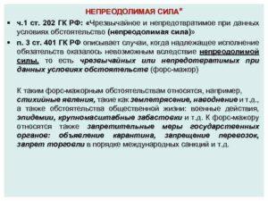 Гражданский кодекс форс мажорные обстоятельства