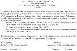 Образец приказа о дополнительном соглашении к трудовому договру