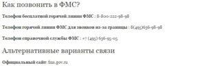 Справочная фмс москвы круглосуточно
