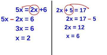 Правила переноса в уравнении